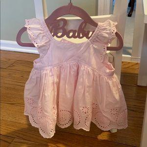 Baby Gap Pink Eyelet Flutter Top